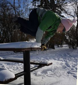 Parkour Girl Practicing Winter Palm Spin